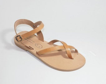 Greek Leather Sandals (37, 39, 40 - Natural leather)