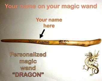 Magic wand DRAGON. Wizard wand. Your name on your magic wand. Natural wood magic wand. Personalized custom name magic wand. Print name wand.