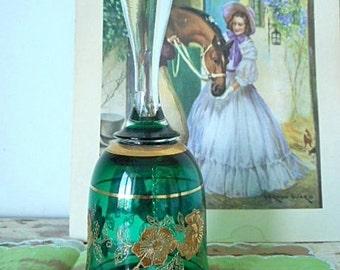 Vintage Glass Dinner Bell - Peppermint Green Gilded Glass