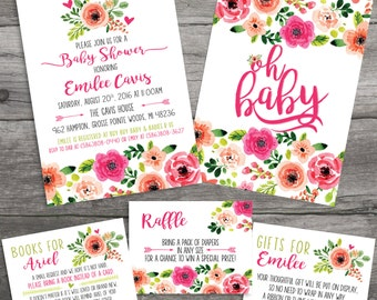 Floral Watercolor CUSTOM Invitation Package - Don't Wrap your Gift - Raffle Card - Books for Baby -  Printable File