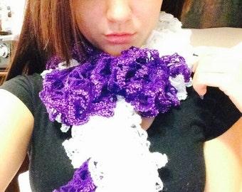 Purple & White Ruffle scarf