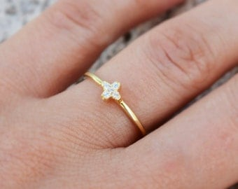 Mini cross ring. Sterling silver dainty cross ring. Sterling silver 14K gold plated tiny cross band ring. Stacking ring. Silver rings.
