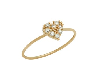 Mini heart ring. Sterling silver dainty heart ring. Small heart ring. Cz heart ring. Blue cz mini heart ring. Pink cz small heart ring.