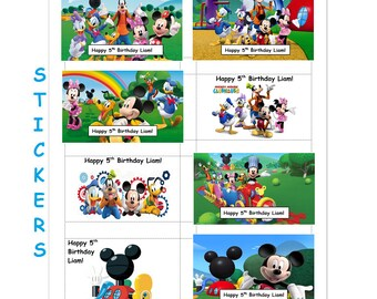 8 PERSONALIZED Printed Mickey Mouse Clubhouse Stickers, Birthday Party Favors, mickey mouse stickers, custom made