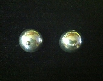 Vintage Button Clip-on Earrings Unmarked Sterling