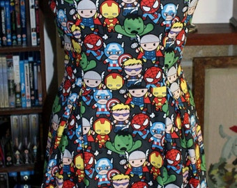 Marvel Avengers Kawaii Thor Captain America Iron Man Hawkeye Hulk Vintage Inspired Dress Your Size