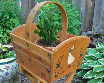 Large Wood Basket / Box / Crate, White Goose Wood Basket, Wood Bin, Storage Bin, Tool Caddy, Garden Produce Basket, Gathering Basket