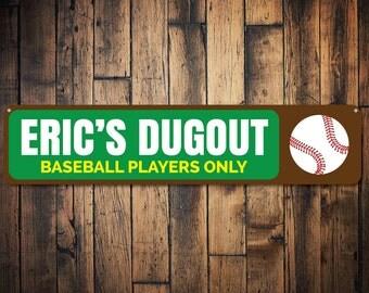 Baseball Dugout Sign, Personalized Kid Name Baseball Players Only Sign, Baseball Lover Sign, Playroom Decor - Quality Aluminum ENS1002082