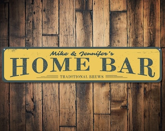 Home Bar Sign, Personalized Bar Sign, Traditional Brew Beer Sign, Custom Beer Sign, Beer Lover Sign, Bar Decor - Quality Aluminum ENS1001369