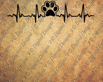 Paw Print EKG Svg Png Dxf Eps Fcm Ai Cut file for Silhouette, Cricut, Scan n Cut Dog Lover Cat Lover Paw Print Heartbeat