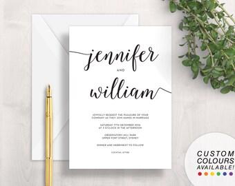White & Black Wedding Invitation | Printable Wedding Invitation | Simple Wedding Invitation | Modern Wedding Invitation