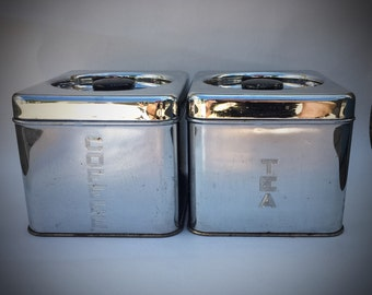 Vintage 1950's Lincoln Beautyware Chrome Coffee Tea Stackable Kitchen Canisters
