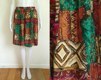 35%offJuly17-20 80s high waist shorts xl / plus size 24W, lightweight rayon abstract tribal print shorts 1980s elastic waist shorts pockets