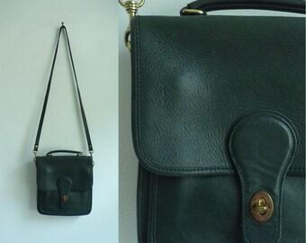 leather cross body bag, hunter green, genuine leather handbag, shoulder bag, 80s hunt club, 1980s leather purse