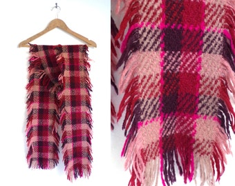 plaid scarf, checkered scarf, fringe scarf, pink red, acrylic scarf, fall scarf, winter scarf, long scarf, oblong scarf