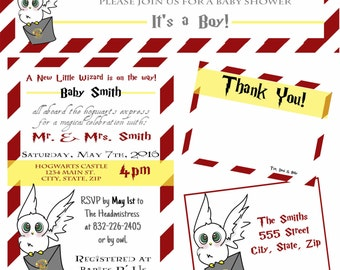 Harry Potter Baby Shower Invitation & Thank You Card Set