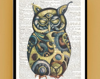 Owl Print Green/Purple Steampunk Cog Wheels Owl, Great office and home wall decoration printed on vintage dictionary pages