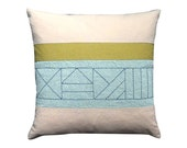 """18"""" x 18"""" Handmade Linen Pillow with Hand-Stitched Details   Table 408"""