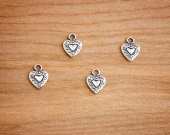 STERLING SILVER  - Tiny Heart Charms - Jewelry Component