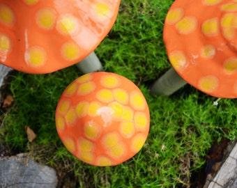 Fuzzy Peach Mushroom. Ceramic Mushroom. Garden Stake.  Garden Art. Garden Accessory.