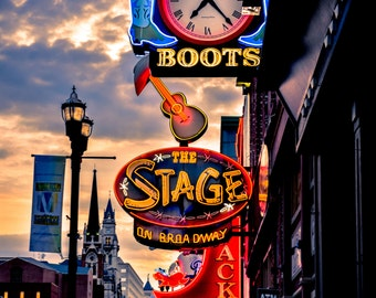 Nashville Neon Signs Photograph, Downtown Nashville, Broadway, Tennessee, Music City, Stage, Neon Sign Art, Wall Art, Large Print