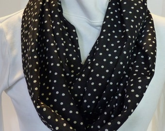 Infinity scarf, black and white dot, woman's scarf