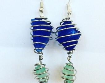 Spiral Seaglass Earrings
