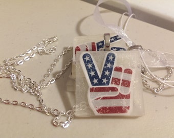 Patriotic Peace Red White and Blue Resin Necklace