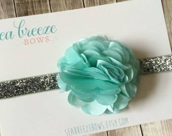 Mint & Silver Glitter Puff Flower Headband