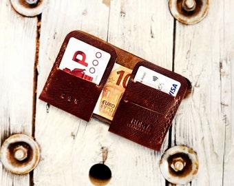 Leather Minimalist Wallet, Mini Wallet, Cardholder,