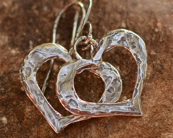 Artisan Sterling Silver Heart Earrings