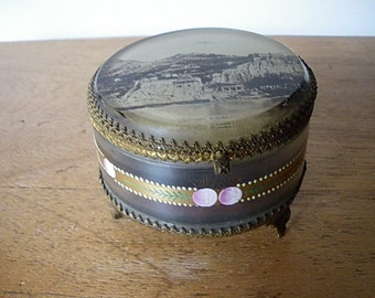Antique Ormolu Trinket Box Casket /Jewellery Box with picture of GRENOBLE (France)/ jeweled glass