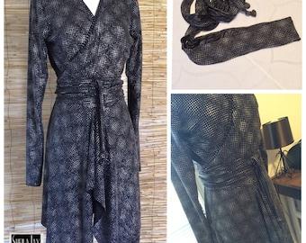 SJD Wrap Sweater Knit Tunic Silver Studded Asymmetric Hem