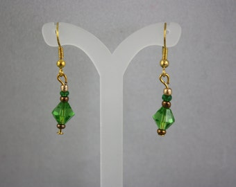 earrings, green earrings, bicone crystal earrings, crystal earrings, hand made jewelry, handmade jewelry, drop earrings, dangle earrings