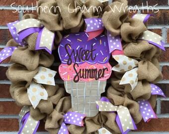 "18"" Natural Burlap ""Sweet Summer"" Ice Cream Wreath"