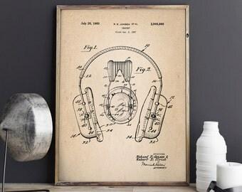 Headphones Patent Print, Headphones Patent, Headphone Poster, Home Theater Decor, Bar Decor, Patent Print - DA0708
