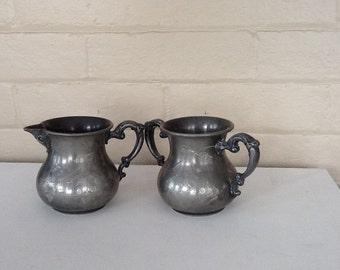 Antique Silver Cream and Sugar / Silver Plated / Monarch Silver Co., Toronto