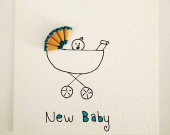 Handmade Colouring Pencil Card (New Baby Boy)