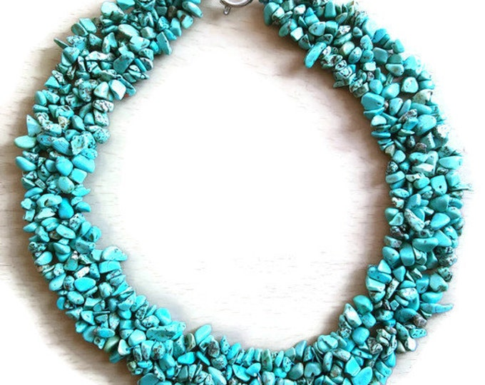 Boho blue stone multistrand necklace/ necklace/ hippie necklace /hippie blue necklace/ bohemian necklace/ boho multistrand necklace