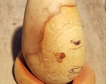 Birchwood egg sculpture