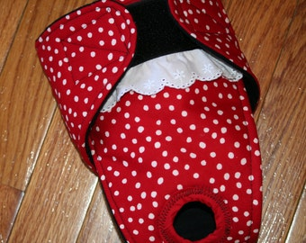 Female Dog Diaper,Panties, dog Britches, Nappies.  Washable Heat Cycle, Incontinence - Red Polka Dot  - by angelpuppi