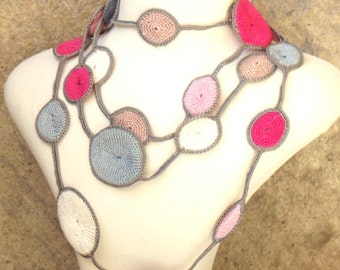 Turkish OYA Lace - Lariat necklace - Drop-Pink&Gray