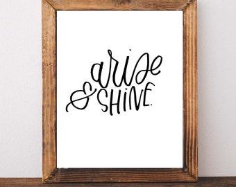 Arise and Shine Printable, Nursery printable, nursery art, handlettered printable, hand lettered art, printable