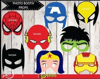 Photo Booth Props Superhero ,  Superhero Party Photo Booth Props/Photobooth Props  INSTANT DOWNLOAD