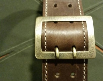 "Handmade Genuine Leather belt - 1.25"" wide, jacketed belt, Solid Brass Buckle, Brown Mens Belt,"