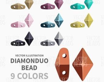 DiamonDuo Beads Clip-art Set - Beads Vector Illustration - ai, eps, pdf, png