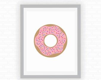 Donut illustration - food poster - modern art - kid decor - kitchen decor - printable wall art - Digital wall decor - INSTANT DOWNLOAD