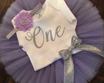 Purple and Silver First Birthday Outfit // Spring Birthday Outfit // Purple and Silver Tutu Set