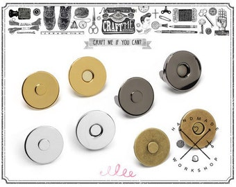 20SETS 14MM THIN Metal Magnetic Snaps Button / Metal Plated Magnetic Snaps Closure button Slim magnetic.