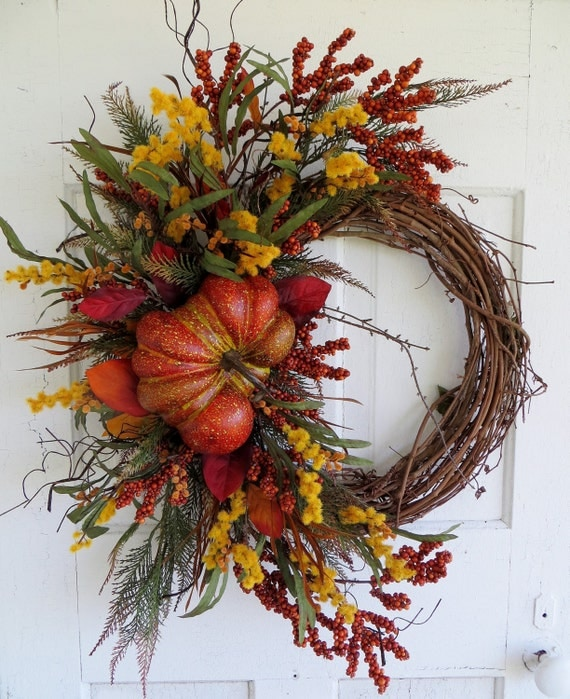 Fall Pumpkin Wreath Fall Wreaths Front Door Wreath Autumn